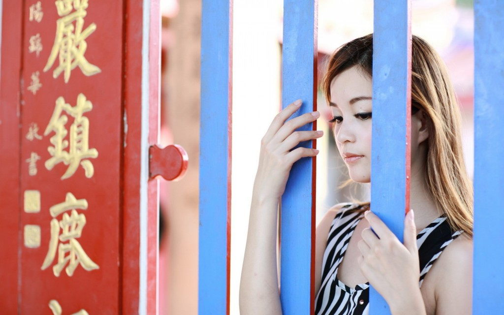girl, asian, fence