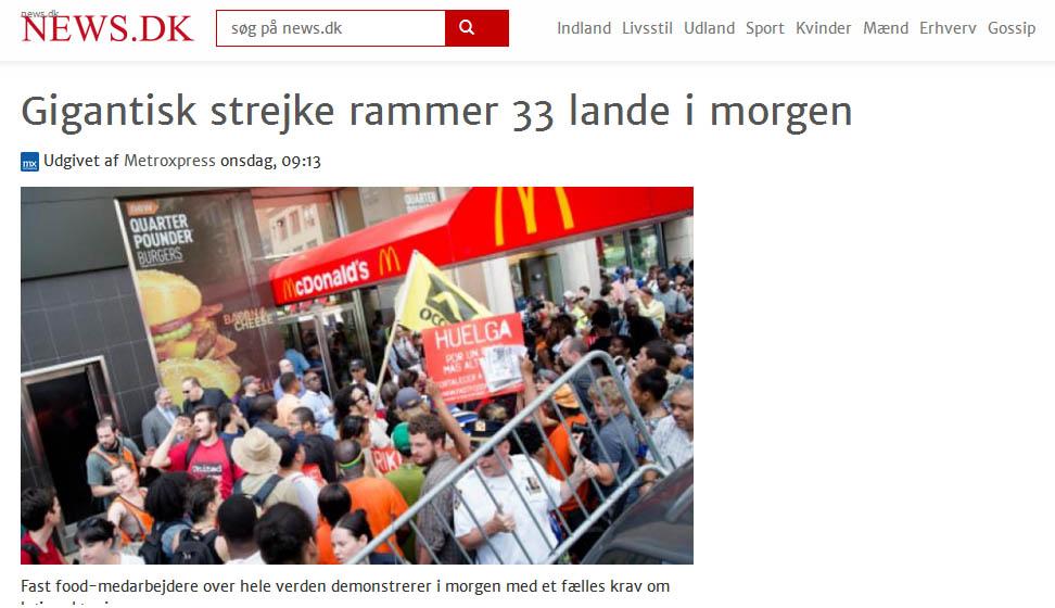 Fast food strejke i 33 lande