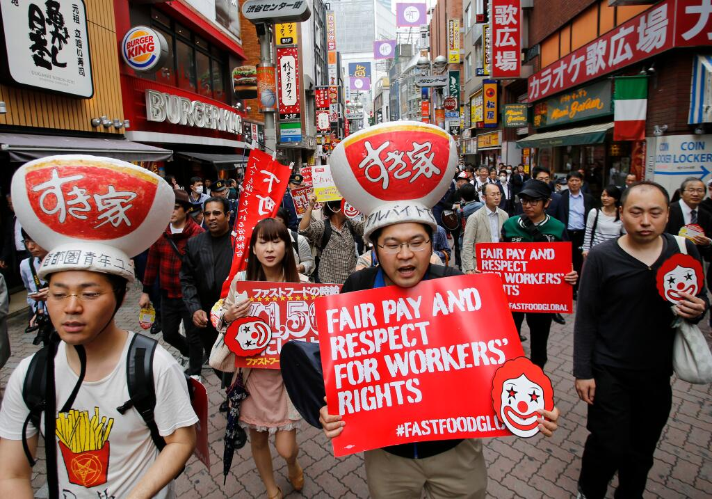 Strejkende arbejdere i Tokyo