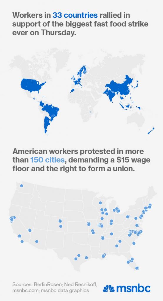 Kort med lnde og stater der deltog i strejken